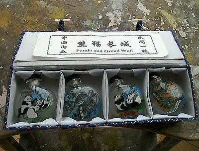 Set Of Four Chinese Glass Snuff Bottles