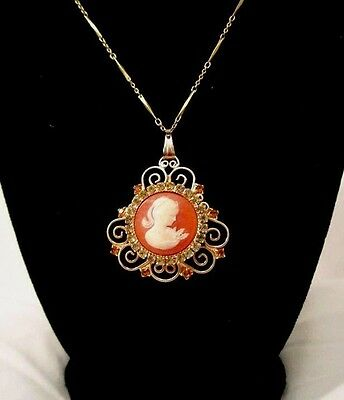 Vintage Victorian Revival Cameo Celluloid Rhinestone Swirls Necklace NC