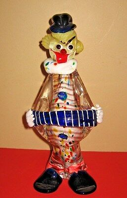 Large Vtg. Murano Art Glass Italian Millefiori Clown Playing Squeeze Box Figurin