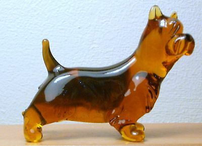 "Hand Blown ""murano"" Glass Collectable  Australian Terrier Dog Figurine"