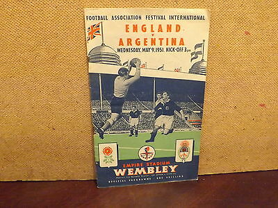 INTERNATIONAL FOOTBALL FIXTURE ,ENGLAND v ARGENTINA..MAY 9th 1951 PROGRAME..
