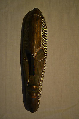 Wooden Mask Hand Carved and Painted 30cm Tall Approx