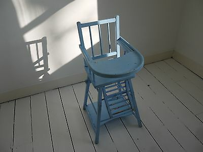 Vintage Combelle high chair rustic blue painted beech childs baby feeding tray