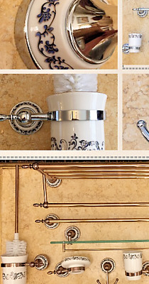 Antique Brass Ceramic Base Wall Mounted Bathroom Accessories In 2 Colours