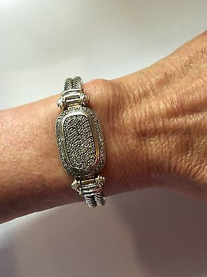 RARE David Yurman Double Cable Bracelet 110 Diamonds! GORGEOUS