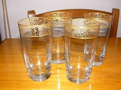 Vintage Glass Tumbers with Golden details x 4