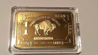 ONE 1 OZ Buffalo Gold Plated Bullion Art Bar Ingot
