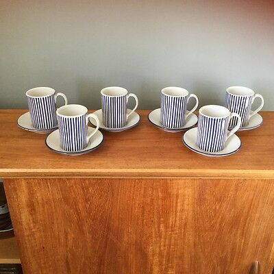Vintage Rye Pottery coffee 6 cups and saucers - Blue & white stripes