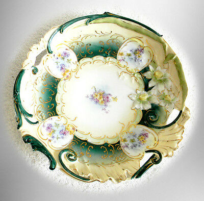 R S Prussia large plate with gold and floral designs - FREE SHIPPING