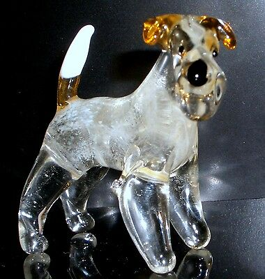 """Hand Blown """"murano"""" Glass Collectable Fox Terrier Dog  Figurine"""