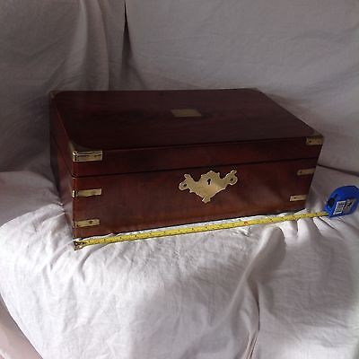 Handsome Victorian Campaign Style Writing Slope With Secret Drawers