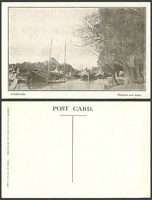 IRAQ Old Postcard Mesopotamia Mahallas near Ashai Native Boats River Scene Trees