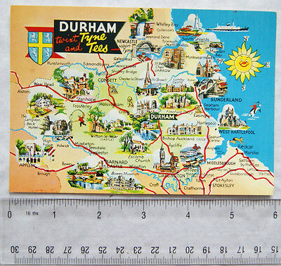 old postcard Map of Durham