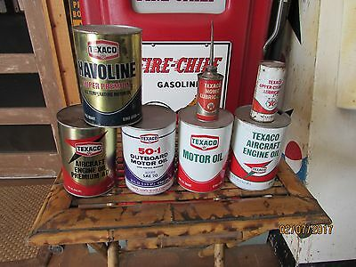 Original Texaco Oil Cans & Upper Lub Home Lubricant Aircraft Outboard