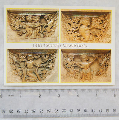 old postcard Southwell Minster, Medieval Misericords