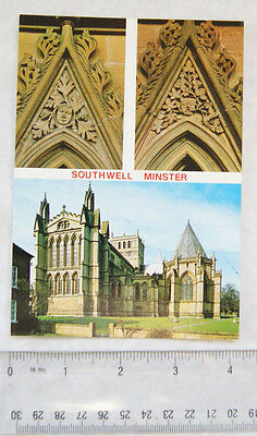 old postcard Southwell Minster, multi-view
