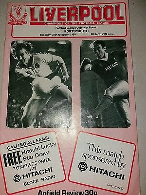 Liverpool v Portsmouth league cup 4th rd 28/10/1980