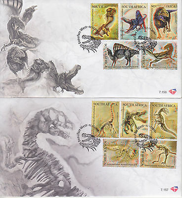 2 x SOUTH AFRICA FDC 2009 - No:7.156/7 - 3D DINOSAURS