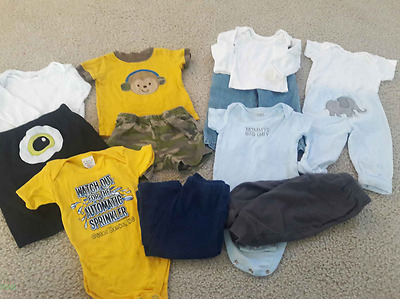 BABY Boy Newborn 0-3 months one piece rompers Pants Jeans Sweats Tops 6 OUTFITS