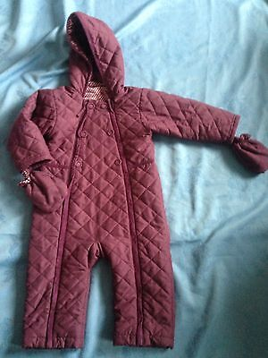 Baby Girls All In One Snow Suit By M & S Age 12 -18 Months