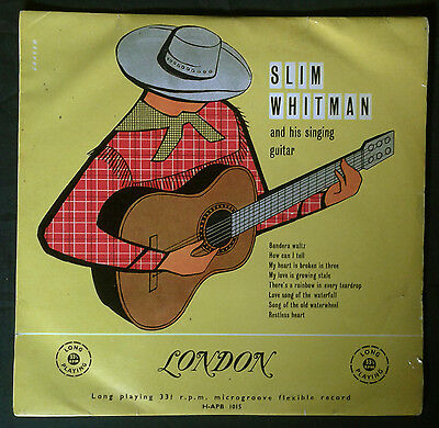"SLIM WHITMAN & his singing guitar,RARE 1956 10"" UK LP London.Country.Cowboycover"