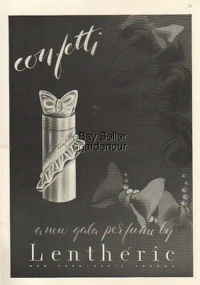1940 Lentheric Confetti Perfume bottle Vintage Art Ad MMXV
