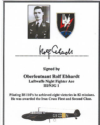 WWII VETERAN SIGNED Bookplate/Card - Luftwaffe Night Fighter Ace Ebhardt 8 Vict