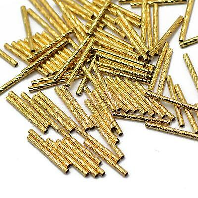 50pcs Gold Carved Metal Tube Spacer Noodle Beads Jewelry Findings DIY 20mm