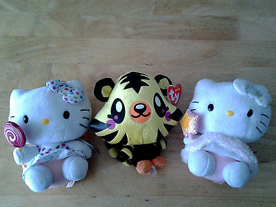 """3 x Ty Beanie Babies 2 Hello Kitty & 1 Moshi Monster Approx 6"""" Soft Toy Girl Boy"""
