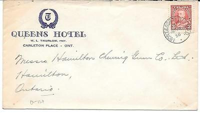 1936 Montreal & North Bay R.P.O. Cancel Carleton Place, Ont. Queens Hotel Cover