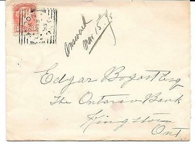 1895 London, Ont. Square Circle Cancel on 3c Small Queen Cover to Kingston