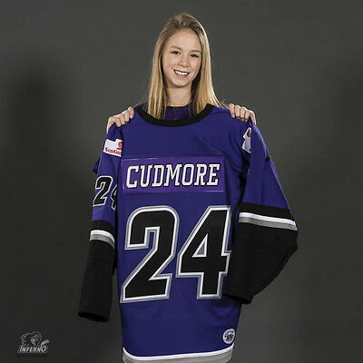 2017 Game Used Calgary Inferno DIFD CWHL Jersey - 24 Hayleigh Cudmore