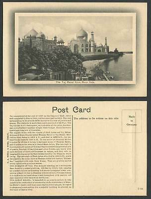 India Old Embossed Postcard The Taj Mahal from The River Side Agra H.A. Mirza &