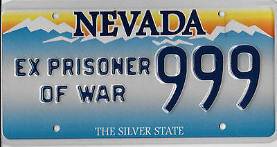 Authentic Nevada Ex Prisoner Of War Pow License Plate # 999 Mint Mint Reduced