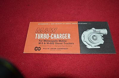 Minneapolis Moline M-5 M-60 Tractor M & W Turbo Charger Dealer's Brochure YABE12