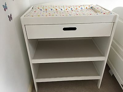 White wooden Nursery baby changing unit With Drawer