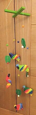 New! Handpainted Balsa Wood Parrot Mobile With Ceramic Leaves