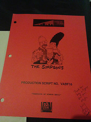 The Simpsons - RARE HAND SIGNED PRODUCTION SCRIPT FROM FOX - TREEHOUSE OF HORROR