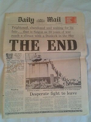 Daily Mail Newspaper- Apr 30 1975- Vietnam War- Saigon Frightened and Abandoned.