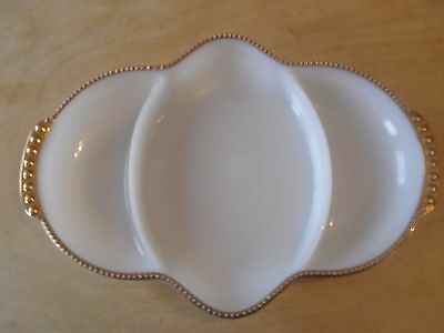 Vintage Fire King Milk Glass 3 Sectional Dish With Gold Trim