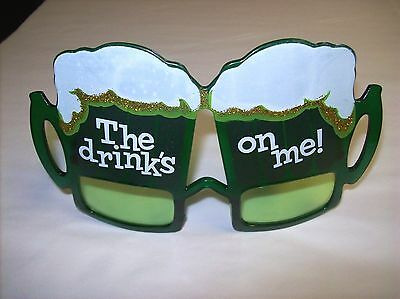 """""""The Drinks on Me"""" St. Patrick's Day Irish Beer Fun Glasses!  One Size Fits Most"""