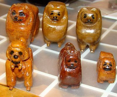 Lot of 6 Hand-Carved Miniature Wooden Dogs