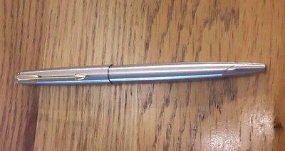 Vintage Parker 45 Stainless Steel Gold Trim Ball Point Pen