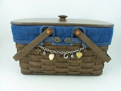Longaberger Medium Market Deep Brown Basket Combo w Tie On, Lid, Denim Liner