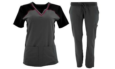 Medical Scrubs STRETCH Solid 2 piece sets WRINKLE FREE 6 Pockets XS-XL NWT