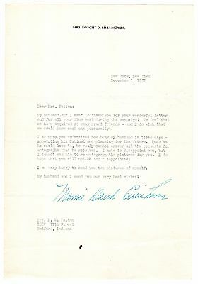 Mamie Eisenhower Typed Letter Signed re Dwight's 1952 Win & Cabinet Appointments