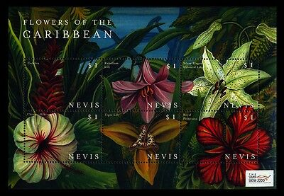 2000 Nevis - The Stamp Show, London - Flowers Of The Caribbean $1 - Muh - J54