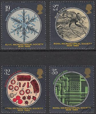 GB Stamps 1989, Microscopical Society, set of 4 Very Fine Used from FDC