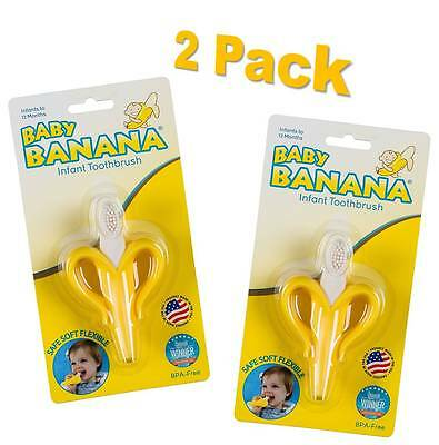 Baby Banana Bendable Training Toothbrush for Infants, Safe And Soft (2 Pack)