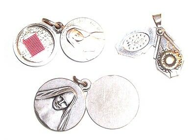 Vintage Lot (3) Old Religious Silver Tone Swivel Slide Medal Charms With Relic